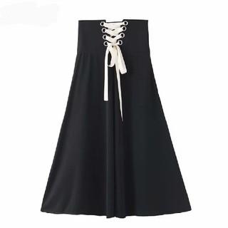 ZARA - 【3size】バックリボン 編み上げ スカート 着痩せ効果