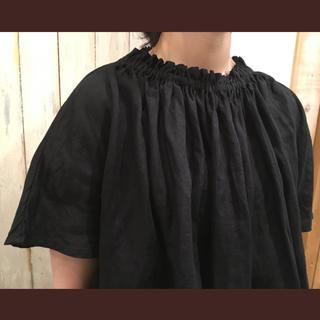 ネストローブ(nest Robe)のnest Robe ネストローブ リネンフリルブラウス ブラック(シャツ/ブラウス(半袖/袖なし))