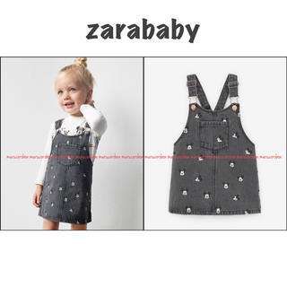 ZARA KIDS - zarababy ザラベビー ミッキー デニム ワンピース ジャンパースカート