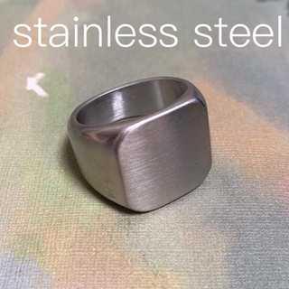 クラシックスクエアリング ツヤ消し 銀 指輪 メンズ 印台 カレッジ ステンレス(リング(指輪))