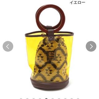 チチカカ(titicaca)のチチカカ ウッドハンドルビニールバッグ/ ビニールバッグ巾着エスニック アジアン(ハンドバッグ)