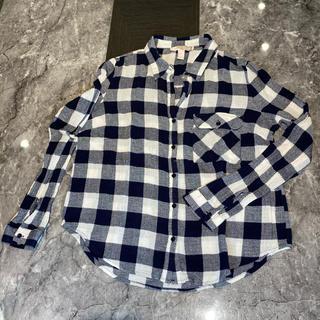 フォーエバートゥエンティーワン(FOREVER 21)のforever21 チェックシャツ ネイビー S(シャツ/ブラウス(長袖/七分))