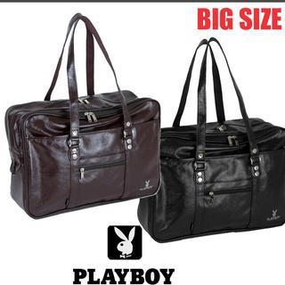 プレイボーイ(PLAYBOY)のplayboyプレイボーイ スクールバッグ スクバ 茶色ブラウン 合皮(トートバッグ)