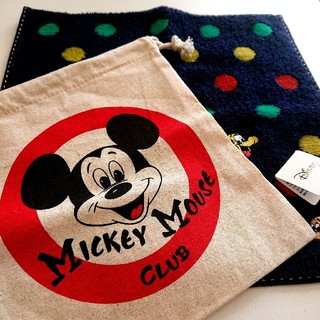 Disney - ミッキーマウス 巾着 袋 コップ入れ コップケース ハンカチ タオル セット