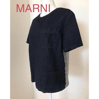 マルニ(Marni)のMARNI デニム&スウェットジャージートップス(カットソー(半袖/袖なし))