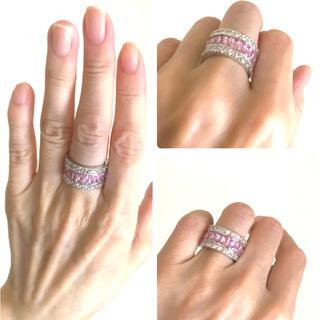 スワロフスキー(SWAROVSKI)の未使用  フルエタニティ 指輪  ピンク&クリア   プリンセス ring(リング(指輪))