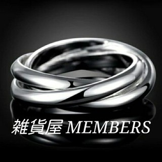 送料無料8号クロムシルバーサージカルステンレス3連トリニティリング指輪残りわずか(リング(指輪))