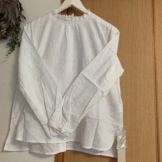 サマンサモスモス(SM2)の衿レースシャーリングブラウス*オフ(シャツ/ブラウス(長袖/七分))