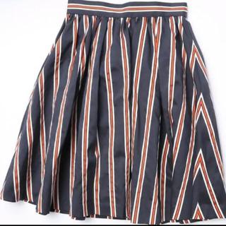 レイビームス(Ray BEAMS)の美品☆Ray beams ストライプ スカート ネイビー オレンジ(ひざ丈スカート)