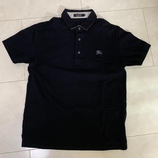 バーバリーブラックレーベル(BURBERRY BLACK LABEL)のバーバリーブラックレーベル 鹿子ポロシャツ 半袖 黒(ポロシャツ)