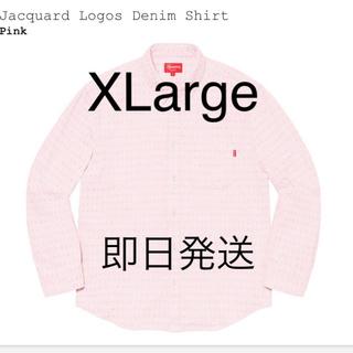 Supreme - Supreme Jacquard Logos Denim Shirt Pink