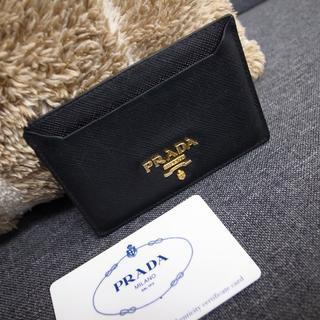 PRADA - 正規品☆プラダ カード入れ 黒 サフィアノレザー バッグ 財布 小物