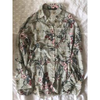 ZARA - 花柄チェックシャツ