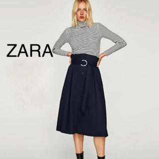 ZARA - ZARA ネイビー フロントボタン Aラインスカート ベルト付き 紺