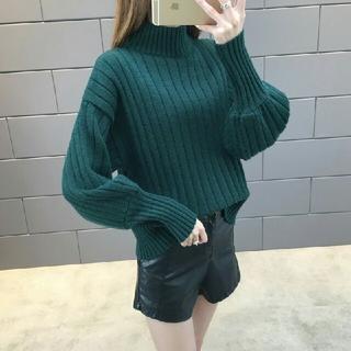 バルーン袖 セーター レディース ニット カットソー ケーブル編み グリーン(ニット/セーター)