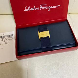 Salvatore Ferragamo - 極 美品 付属品完備 サルヴァトーレ  フェラガモ ヴァラ 長 財布 濃紺 革