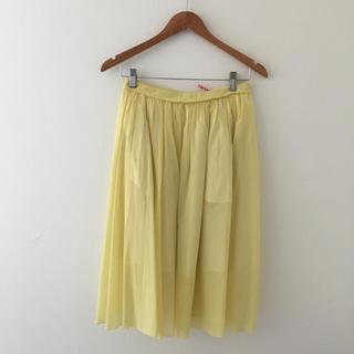 トゥモローランド(TOMORROWLAND)の美品 MACPHEE マカフィー フレアスカート/38 イエロー 黄色(ひざ丈スカート)