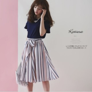 トッコ(tocco)のtocco closet 【katiesa カティーサ】マルチストライプスカート(ひざ丈スカート)