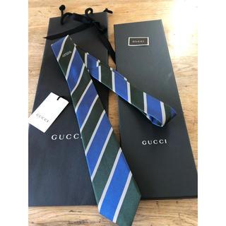 Gucci - ビジネスストライプネクタイグッチストライプ新品未使用 銀青緑剣先7mm