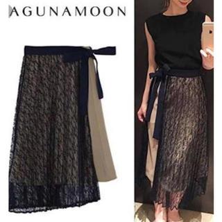 ラグナムーン(LagunaMoon)のレースプリーツレイヤードスカート(ロングスカート)