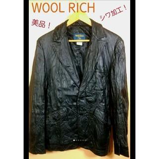 ウールリッチ(WOOLRICH)のWOOL RICH 本革 ジャケット 状態良好 シワ加工 ブラック 春 に最適!(レザージャケット)