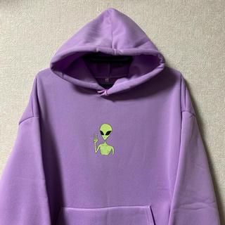 エイリアン 宇宙人 パーカー 紫(パーカー)
