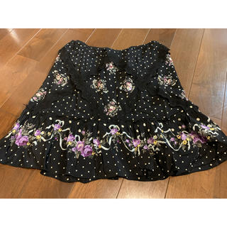 アナスイ(ANNA SUI)のANNA SUI 花柄スカート シルク100%(ミニスカート)