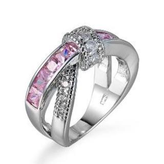 【新品】シルバー×ピンク ピンクダイヤモンド色CZインフィニティリング 20号(リング(指輪))