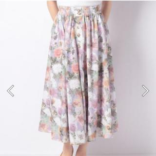 axes femme - ぼかし花柄ロングスカート