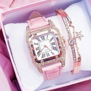 レディース アナログ 腕時計 ブレスレット アクセサリー セット 時計 ピンク