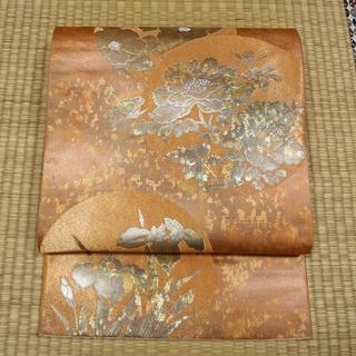 赤朽葉色に金糸織りと丸文の花 袋帯(帯)