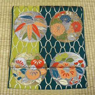 深藍色に金銀糸の織りと草花 アンティーク袋帯(帯)