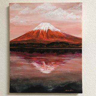 肉筆で書いた 絵画  赤富士  開運  アクリル画 『原画』