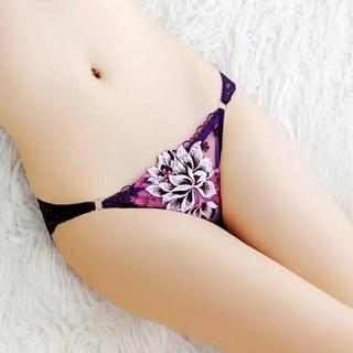 🌺おすすめ🌺 セクシー ランジェリー  花刺繍  ショーツ パープル