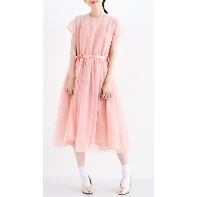 merlot(メルロー)のmerlot plus メルロープリュス チュールワンピース ドレス ピンク レディースのワンピース(ひざ丈ワンピース)の商品写真