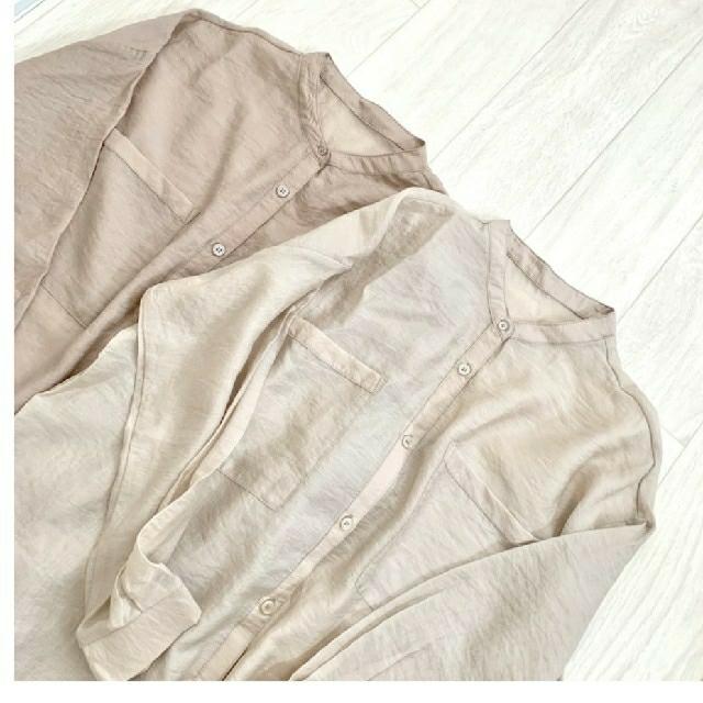 しまむら(シマムラ)のしまむら シアーシャツ シアームジロングシャツOPナカ 中肌色 Lサイズ レディースのトップス(シャツ/ブラウス(長袖/七分))の商品写真