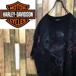 Harley Davidson - 【激レア】ハーレーダビッドソン☆イーグルビッグロゴ・バックプリントTシャツ