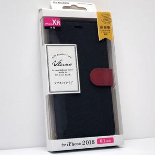 iPhone XR 用 手帳型ケース ソフトレザーカバー 黒✕赤(iPhoneケース)