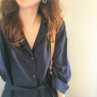 ゆったり シャツワンピース ブルー 紺色 青 マキシワンピース(ロングワンピース/マキシワンピース)
