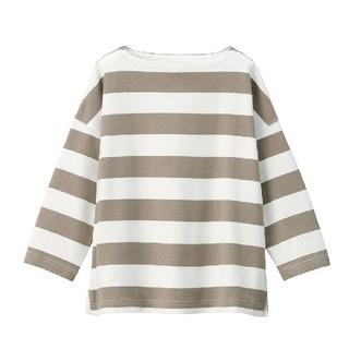 MUJI (無印良品) - 太番手天竺編みドロップショルダーTシャツ(七分袖)婦人M~L・白×カーキベージュ
