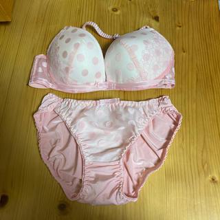 ピンク、水玉がらブラジャーショーツD70(ブラ&ショーツセット)