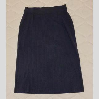 プラステ(PLST)のPLST  ニットスカート ネイビー(ひざ丈スカート)