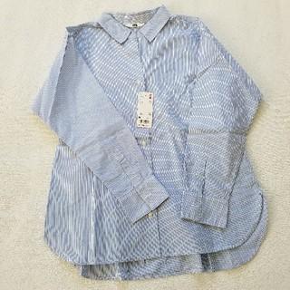 ユニクロ(UNIQLO)の未使用 ユニクロ コットン シャツ ストライプ ブルー オーバーサイズ(シャツ/ブラウス(長袖/七分))