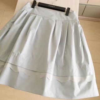 FOXEY - 美品 FOXEY スカラップ スカート 42 スモーキーブルー フォクシー ルネ