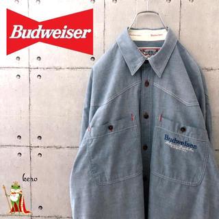 【超レア】90s バドワイザー 企業 ワークシャツ 長袖シャツ(シャツ)