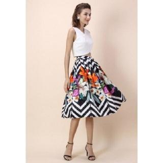 GRACE CONTINENTAL - chicwish 花柄スカート フラワースカート プリーツスカート