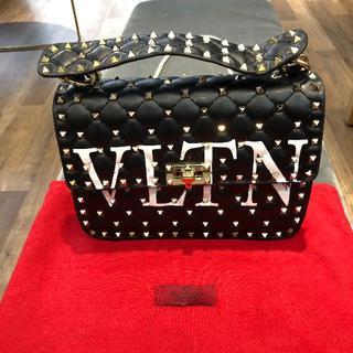 VALENTINO - Valentino美品 スタッズ黒ベルベットショルダーバック