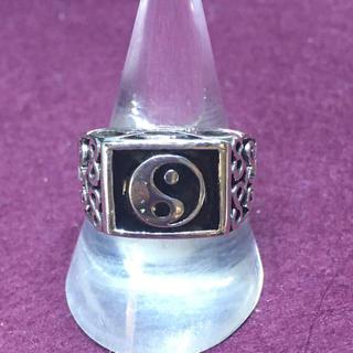 陰陽印台シルバー925リング強運シグネット銀指輪スターリングSILVER勾玉風水(リング(指輪))