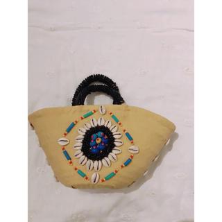 ファティマモロッコ(Fatima Morocco)のFatimaMoroccoビーズ刺繍 カゴバッグ イエロー×ブラック(かごバッグ/ストローバッグ)