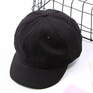 黒 ショートプリムキャップ 野球帽 アンパイアキャップ キャップ 帽子 無地 (キャップ)